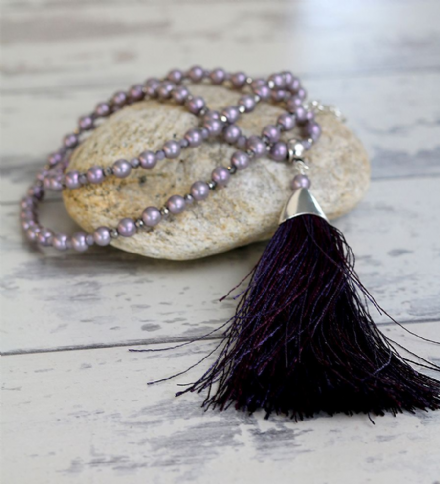 Purple and Lavender Pearl Tassel Necklace